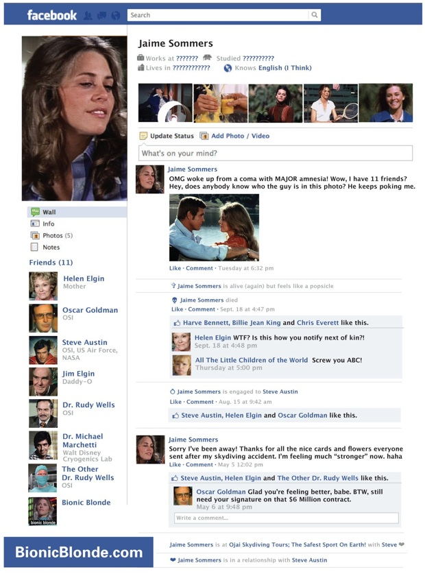 Jaime sommers lost facebook page 1x01